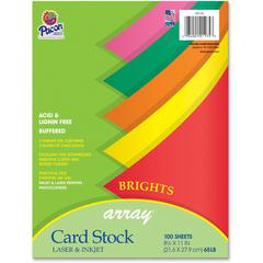 """Pacon Printable Multipurpose Card Stock - Letter - 8 1/2"""" x 11"""" - 65 lb Basis Weight - 100 / Pack - Assorted"""