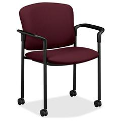 "HON 4070 Series Mobile Guest Chair - Acrylic Wine, Polyester Seat - Upholstery Back - Steel Black Frame - 20.25"" Seat Width x 19.75"" Seat Depth27.3"" Width x 22.5"" Depth x 33"" Height"