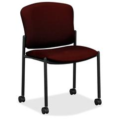 "HON 4070 Series Mobile Armless Guest Chair - Acrylic Wine, Polyester Seat - Fabric Back - Steel Black Frame - 20.25"" Seat Width x 19.75"" Seat Depth21.3"" Width x 22.5"" Depth x 33"" Height"