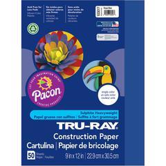 "Tru-Ray Heavyweight Construction Paper - 9"" x 12"" - 50 / Pack - Royal Blue - Sulphite"