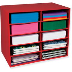 "Pacon 10-Shelf Organizer - 17"" Height x 12.9"" Width x 21"" Depth - Recycled - Red - 1Each"