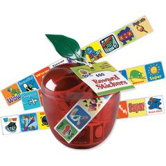 "Pacon Plastic Apple Reward Stickers - 1"" Height x 1"" Width - Red - Plastic - 600 / Pack"