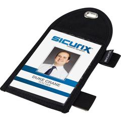 "SICURIX Badge Holder With Loop - 2.3"" x 3.1"" - 1 Each - Black"