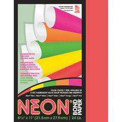 """Pacon Bond Paper - Letter - 8.50"""" x 11"""" - 24 lb Basis Weight - 100 Sheets/Pack - Bond Paper - Neon Red"""