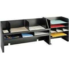 "MMF Desk Organizers with Movable Shelves - 4 Compartment(s) - 3 Divider(s) - 18.4"" Height x 47.3"" Width x 9.5"" Depth - Recycled - Black - Steel - 1Each"