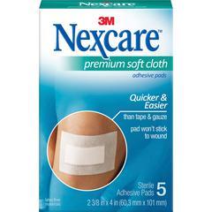 "Nexcare Soft Cloth Premium Adhesive Gauze Pad - 3 Ply - 2.38"" x 3"" - 15/Box - White"
