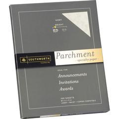 """Southworth Parchment Paper - Letter - 8 1/2"""" x 11"""" - 24 lb Basis Weight - Parchment - 100 / Pack - Ivory"""