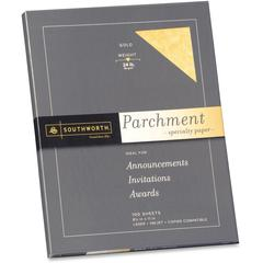 """Southworth Parchment Paper - Letter - 8 1/2"""" x 11"""" - 24 lb Basis Weight - Parchment - 100 / Pack - Gold"""