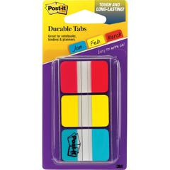 "Post-it® Durable Tabs, 1"" x 1.5"", Red/Yellow/Blue - 36 Write-on Tab(s) - 1.50"" Tab Height x 1"" Tab Width - Red, Blue, Yellow Tab(s) - 1 Pack"