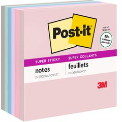 "Super Sticky Recycled Notes, 3 in x 3 in, Bali Color Collection - 390 - 3"" x 3"" - Square - 65 Sheets per Pad - Unruled - Assorted - Paper - Self-adhesive - 6 Pad"