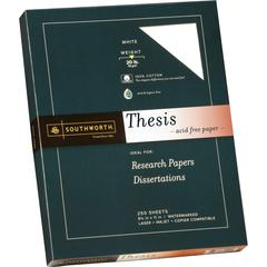 "Southworth Thesis Paper - Letter - 8 1/2"" x 11"" - 20 lb Basis Weight - Recycled - 100% Recycled Content - Wove - 250 / Pack - Bright White"