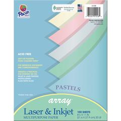 """Pacon Array Bond Paper - Letter - 8.50"""" x 11"""" - 20 lb Basis Weight - Recycled - 10% Recycled Content - 100 / Pack - Lilac, Gray, Ivory, Sky Blue, Watermelon"""