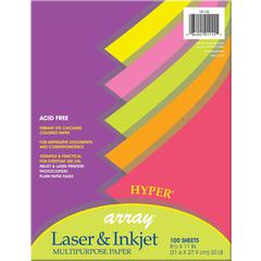 """Pacon Bond Paper - Letter - 8.50"""" x 11"""" - 20 lb Basis Weight - 100 Sheets/Pack - Bond Paper - 5 Assorted Hyper Colors"""