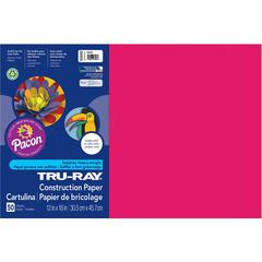 "Tru-Ray Heavyweight Construction Paper - Art - 12"" x 18"" - 1 / Pack - Scarlet - Sulphite"