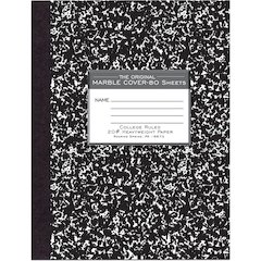 """Roaring Spring 80 Sheet College Ruled Comp. Book - 80 Sheets - Sewn - 20 lb Basis Weight 7.75"""" x 10.25"""" - White Paper - Black Cover Marble - Hard Cover - 1Each"""