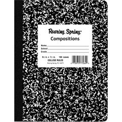 """Roaring Spring 100-sheet College Ruled Comp. Book - 100 Sheets - Sewn - 15 lb Basis Weight 7.50"""" x 9.75"""" - Black Cover Marble - Hard Cover - 1Each"""