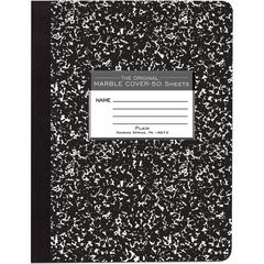 "Roaring Spring Unruled Paper Composition Book - 50 Sheets - Plain - Sewn/Tapebound - 15 lb Basis Weight 7.50"" x 9.75"" - Black Cover Marble - Hard Cover - 1Each"