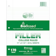 """Roaring Spring Recycled Notebook Filler Paper - 170 Sheets - Ruled Blue Margin - 15 lb Basis Weight - Letter 8.50"""" x 11"""" - White Paper - Recycled - 170 / Pack"""
