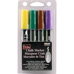 Marvy Uchida Bistro Water-based Chalk Markers - 6 mm Marker Point Size - Green, Yellow, Brown, Violet Water Based Ink - 4 / Pack