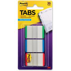 "Post-it® Durable Tabs, 1"" x 1.5"", Green/Blue/Red - 24 Tab(s)1"" Tab Width - Assorted Tab(s) - 1 / Pack"