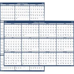 """House of Doolittle Dated 66"""" Laminated Wall Planner - Yes - Monthly - 1 Year - January 2020 till December 2020 - 66"""" x 33"""" - Wall Mountable - Blue, Gray - Paper - Laminated"""