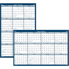 """House of Doolittle Write-on Laminated Wall Planner - Yes - Monthly - 1 Year - January 2020 till December 2020 - 18"""" x 24"""" - Wall Mountable - Blue, Gray - Paper - Laminated, Erasable, Write on/Wipe off"""