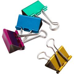"Metallic Colored Binder Clip - Large - 1.3"" Width - 100 Sheet Capacity - 4 Pack - Assorted - Metal"