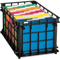 "Pendaflex File Crate - External Dimensions: 14.5"" Width x 17.5"" Depth x 11.5""Height - Media Size Supported: Legal, Letter - Stackable - Plastic - Black - For File - 1 Each"