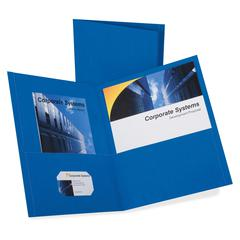 "Oxford Twin Pocket Letter-size Folders - Letter - 8 1/2"" x 11"" Sheet Size - 100 Sheet Capacity - 2 Inside Front & Back Pocket(s) - Leatherette Paper - Royal Blue - Recycled - 25 / Box"