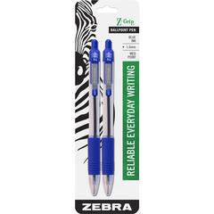 Zebra Pen Z-Grip Retractable Ballpoint Pens - Medium Point Type - 1 mm Point Size - Blue - Blue Barrel - 1 / Pack