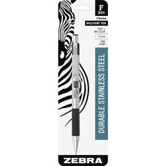 Zebra Pen BCA F-301 Stainless Steel Ballpoint Pens - Fine Point Type - 0.7 mm Point Size - Refillable - Assorted - Stainless Steel Barrel - 1 / Pack