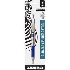 Zebra Pen F-301 Ballpoint Pen - Fine Point Type - 0.7 mm Point Size - Refillable - Blue - Stainless Steel Barrel - 1 / Pack