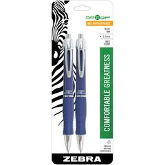 Zebra Pen Wide GR8 Gel Retractable Pens - Medium Point Type - 0.7 mm Point Size - Cone Point Style - Blue Gel-based Ink - Blue Barrel - 2 / Pack