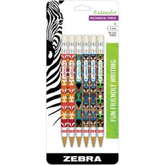 Zebra Pen Cadoozles Medium Point Mechanical Pencils - #2 Lead Degree (Hardness) - 0.7 mm Lead Diameter - Refillable - Assorted Wood Barrel - 6 / Pack
