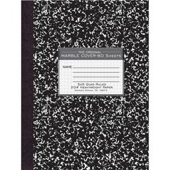 """Roaring Spring 80 Sheet Quad Ruled Comp. Notebooks - 80 Sheets - 15 lb Basis Weight 10.13"""" x 7.88"""" - Black Marble Cover - Hard Cover, Heavyweight - 1Each"""