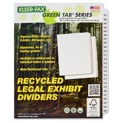 """Kleer-Fax Letter-size Printed Index Dividers - 25 Printed Tab(s) - Digit - 201-225 - 25 Tab(s)/Set - 8.5"""" Divider Width x 11"""" Divider Length - Letter - White Divider - 25 / Set"""