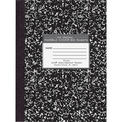 """Roaring Spring Marble Plain Paper Composition Book - 80 Sheets - Plain - Sewn - 20 lb Basis Weight 7.88"""" x 10.25"""" - Black Cover Marble - Heavyweight, Hard Cover - 1Each"""