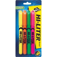 Avery Pen Style Fluorescent Highlighters - Chisel Marker Point Style - Fluorescent Yellow, Pink, Orange, Green - 4 / Pack
