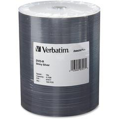 Verbatim DVD-R 4.7GB 16X DataLifePlus Shiny Silver Silk Screen Printable - 100pk Tape Wrap