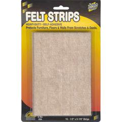 "Master Mfg. Co Scratch Guard® Felt Strips, Self-adhesive - Polyester Felt, 1/2"" x 5-7/8"", 3/16"" Thick, Beige, 16/pk"
