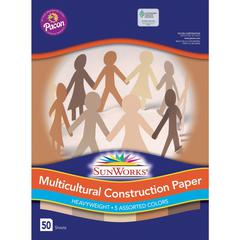 """Pacon Multicultural Construction Paper - Art, Craft - 12"""" x 9"""" - 50 / Pack - Assorted"""
