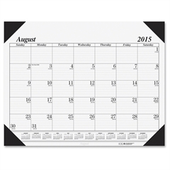 "House of Doolittle Academic Economy Desk Pad - 22"" x 17"" - August till December - Leather Corner - Black"