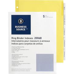 """Business Source Buff Stock Ring Binder Indexes - 5 x Divider(s) - Blank Tab(s) - 5 Tab(s)/Set2"""" Tab Width - 8.5"""" Divider Width x 11"""" Divider Length - Letter - 3 Hole Punched - Buff Buff Paper Divider"""