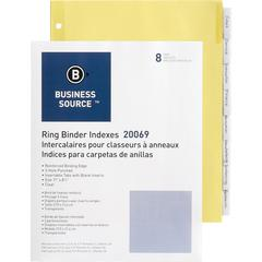 """Business Source Ring Binder Index Divider - 8 x Divider(s) - 8 Tab(s)/Set1.25"""" Tab Width - 8.50"""" Divider Width x 11"""" Divider Length - Letter - 3 Hole Punched - Clear Buff Paper Divider - Clear Tab(s)"""
