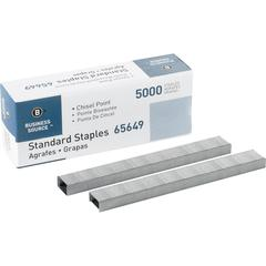 "Standard Staples - 210 Per Strip - 1/4"" Leg - 1/2"" Crown - Holds 30 Sheet(s) - Chisel Point - Silver - 5000 / Box"