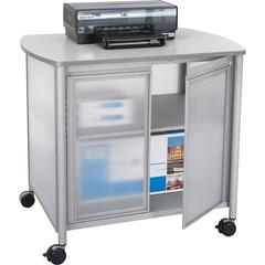 "Safco Impromptu Deluxe Machine Stand with Doors - 100 lb Load Capacity - 2 x Shelf(ves) - 30.8"" Height x 34.8"" Width x 25.5"" Depth - Laminate, Powder Coated - Steel, Polycarbonate - Gray"