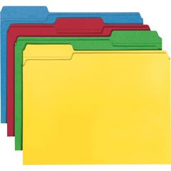 """Smead 100% Recycled Colored Folders - Letter - 8 1/2"""" x 11"""" Sheet Size - 1/3 Tab Cut - Assorted Position Tab Location - 11 pt. Folder Thickness - Assorted - Recycled - 100 / Box"""