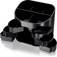 "OIC Double Supply Desktop Organizer - 11 Compartment(s) - 4.5"" Height x 5"" Width x 3.8"" Depth - Desktop - Black - Plastic - 1Each"