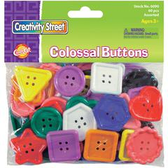 ChenilleKraft Extra Large Plastic Buttons - Craft - 60 Piece(s) - 1 / Pack - Assorted - Plastic
