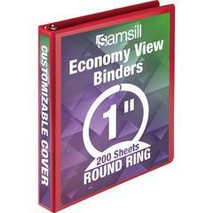"Samsill Economy Round Ring View Binders - 1"" Binder Capacity - Letter - 8 1/2"" x 11"" Sheet Size - 225 Sheet Capacity - 3 x Round Ring Fastener(s) - 2 Internal Pocket(s) - Chipboard, Polypropylene - Re"